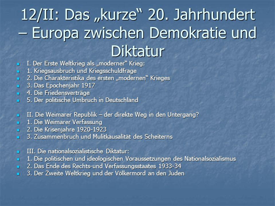 """12/II: Das """"kurze 20. Jahrhundert – Europa zwischen Demokratie und Diktatur"""