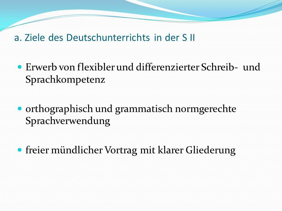 a. Ziele des Deutschunterrichts in der S II