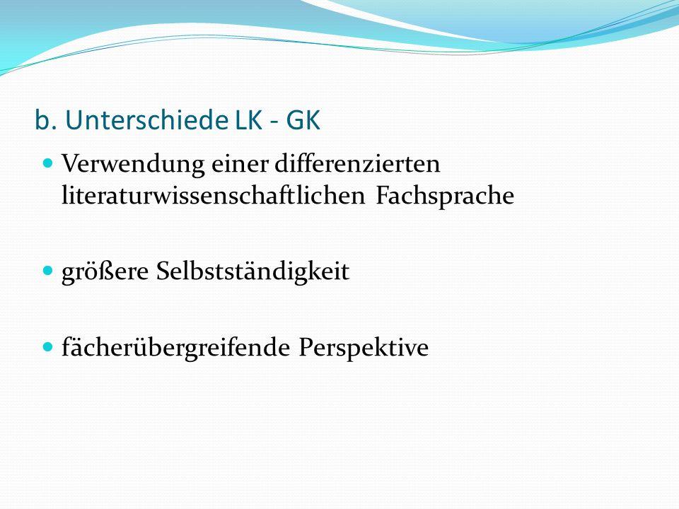 b. Unterschiede LK - GKVerwendung einer differenzierten literaturwissenschaftlichen Fachsprache. größere Selbstständigkeit.