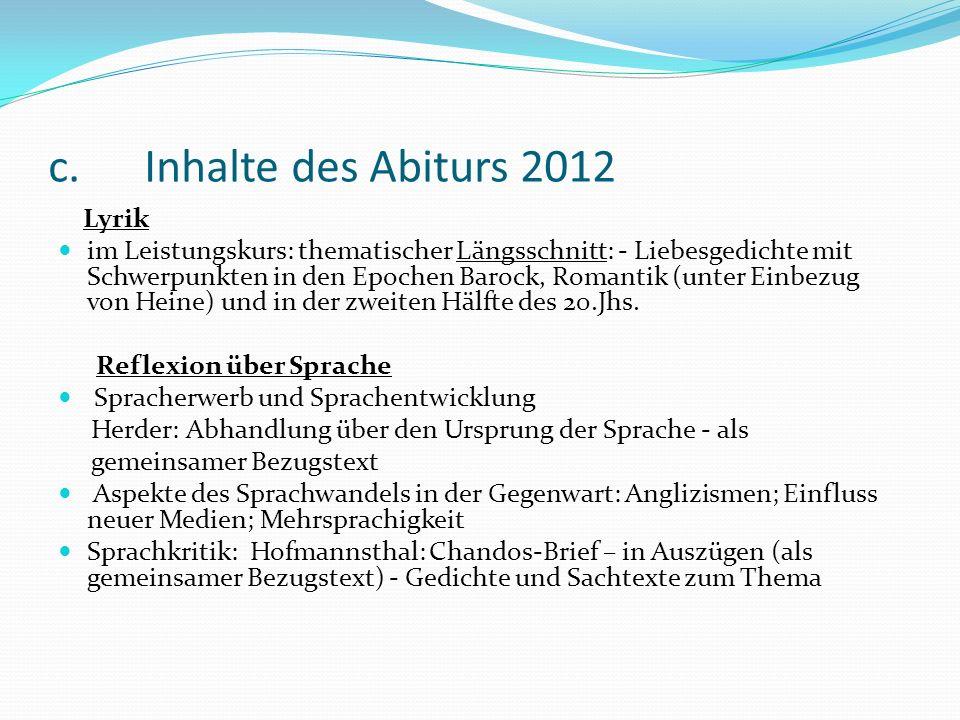 c. Inhalte des Abiturs 2012 Lyrik