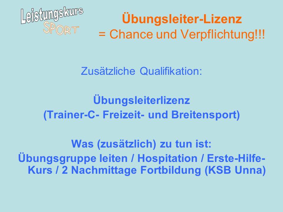 Übungsleiter-Lizenz = Chance und Verpflichtung!!!