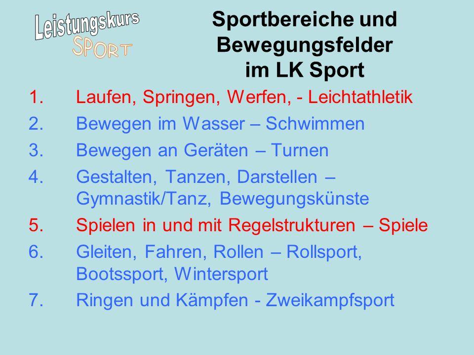 Sportbereiche und Bewegungsfelder im LK Sport
