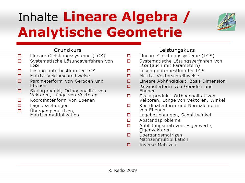 Inhalte Lineare Algebra / Analytische Geometrie