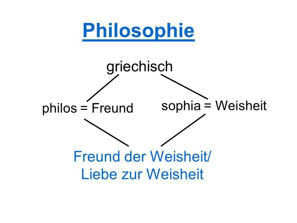 Philosophie griechisch Freund der Weisheit/ Liebe zur Weisheit