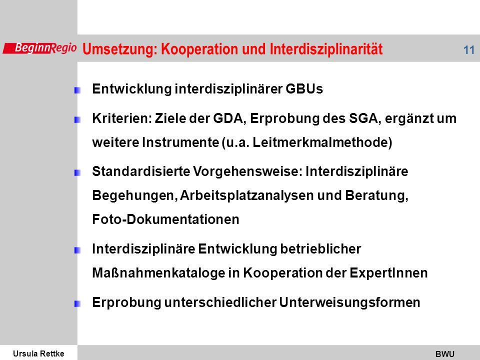 Umsetzung: Kooperation und Interdisziplinarität