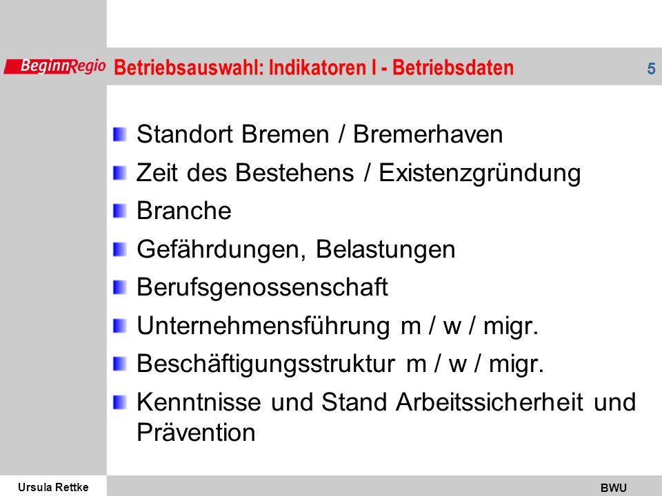 Standort Bremen / Bremerhaven Zeit des Bestehens / Existenzgründung
