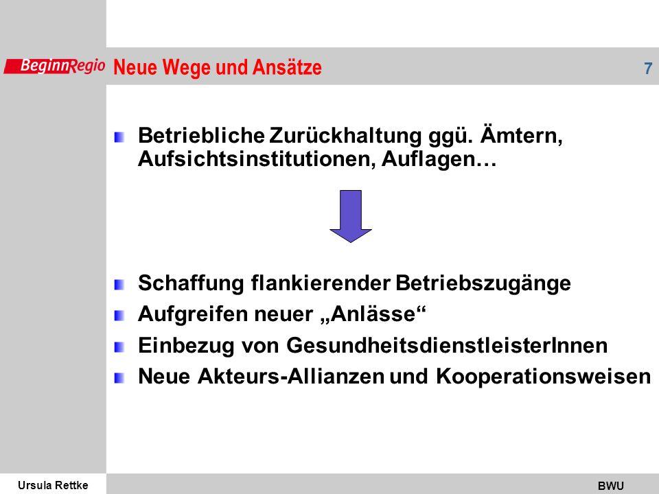 Neue Wege und Ansätze Betriebliche Zurückhaltung ggü. Ämtern, Aufsichtsinstitutionen, Auflagen… Schaffung flankierender Betriebszugänge.