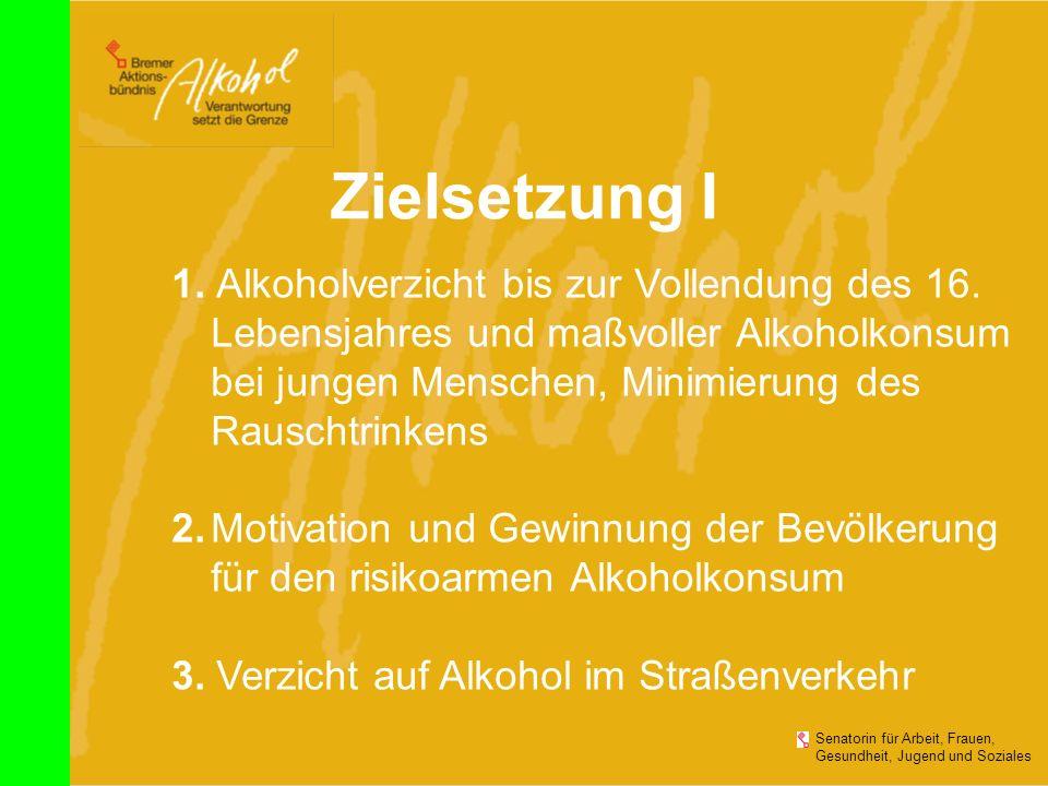 Zielsetzung I 1. Alkoholverzicht bis zur Vollendung des 16. Lebensjahres und maßvoller Alkoholkonsum.