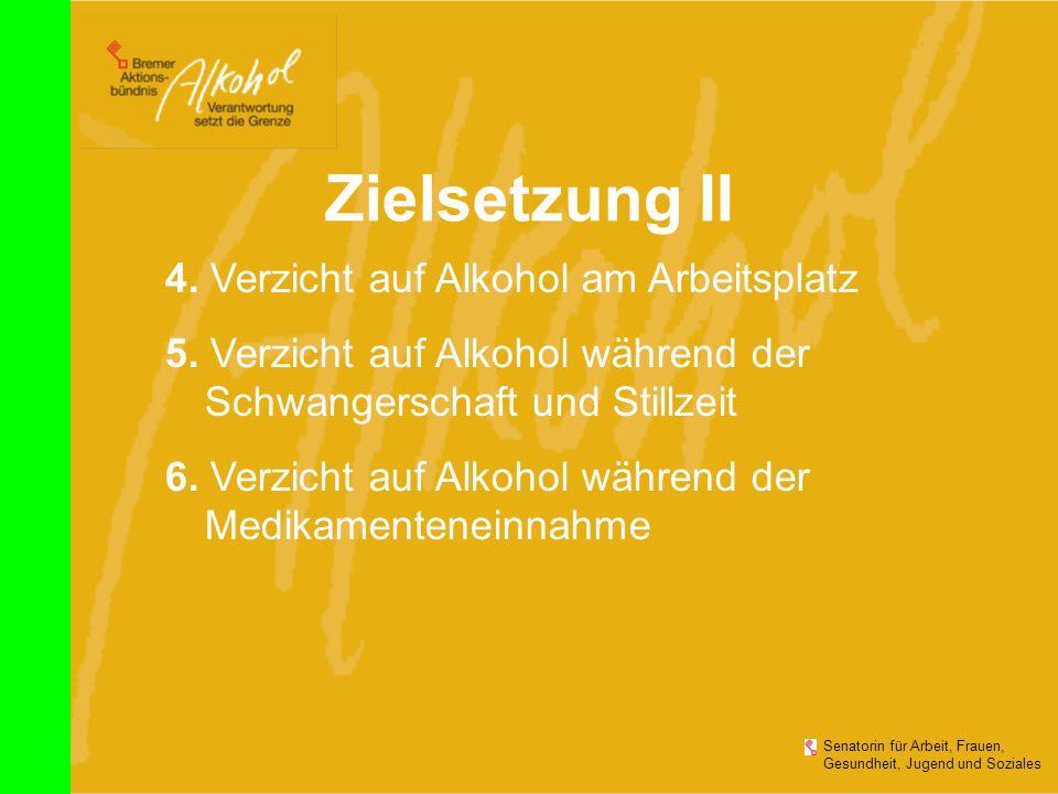 Zielsetzung II 4. Verzicht auf Alkohol am Arbeitsplatz