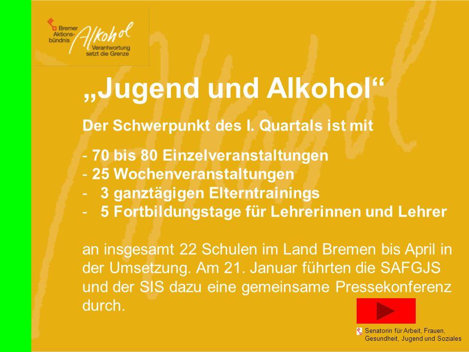 """""""Jugend und Alkohol Der Schwerpunkt des I. Quartals ist mit"""
