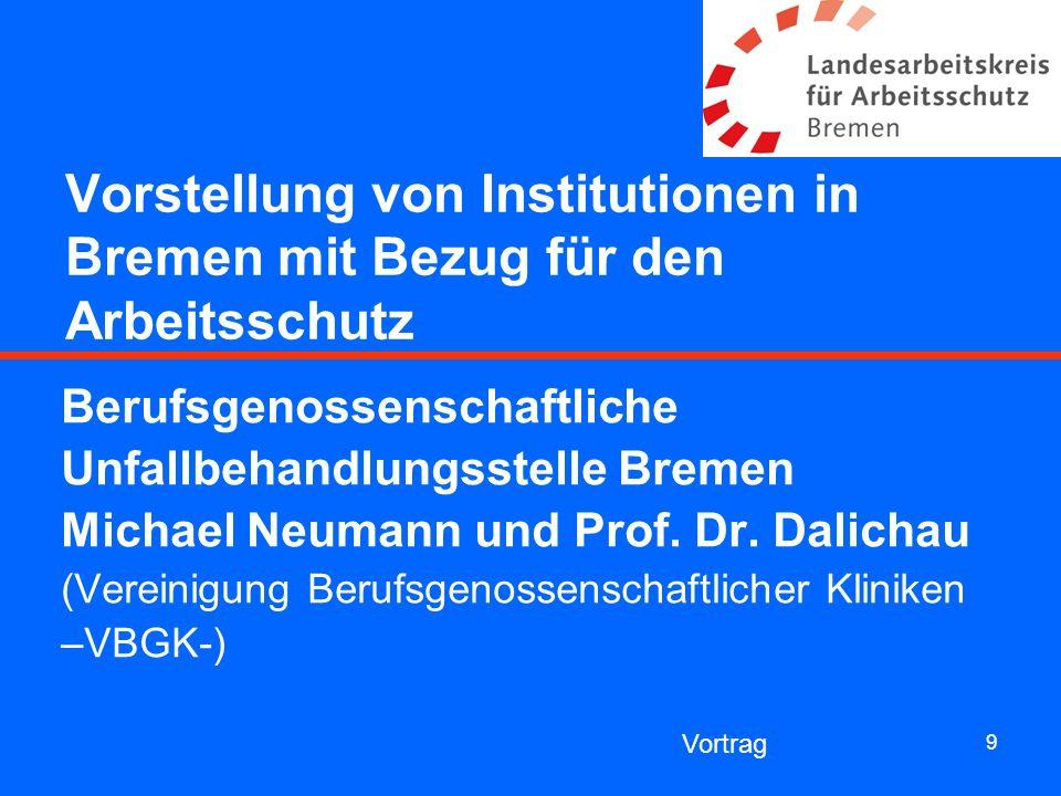 Vorstellung von Institutionen in Bremen mit Bezug für den Arbeitsschutz