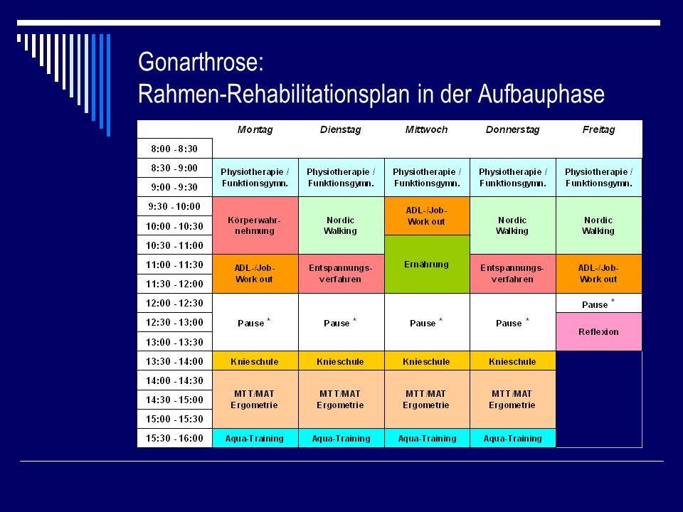 Gonarthrose: Rahmen-Rehabilitationsplan in der Aufbauphase