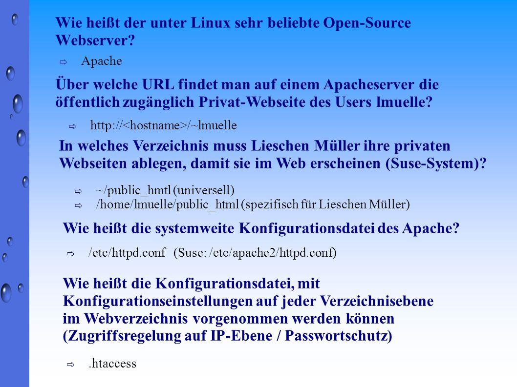 Wie heißt der unter Linux sehr beliebte Open-Source Webserver