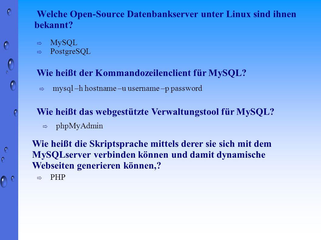 Welche Open-Source Datenbankserver unter Linux sind ihnen bekannt