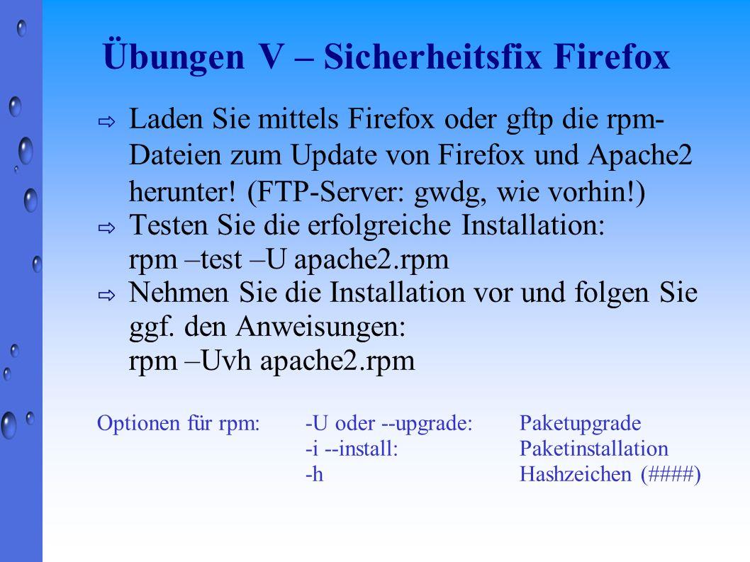 Übungen V – Sicherheitsfix Firefox