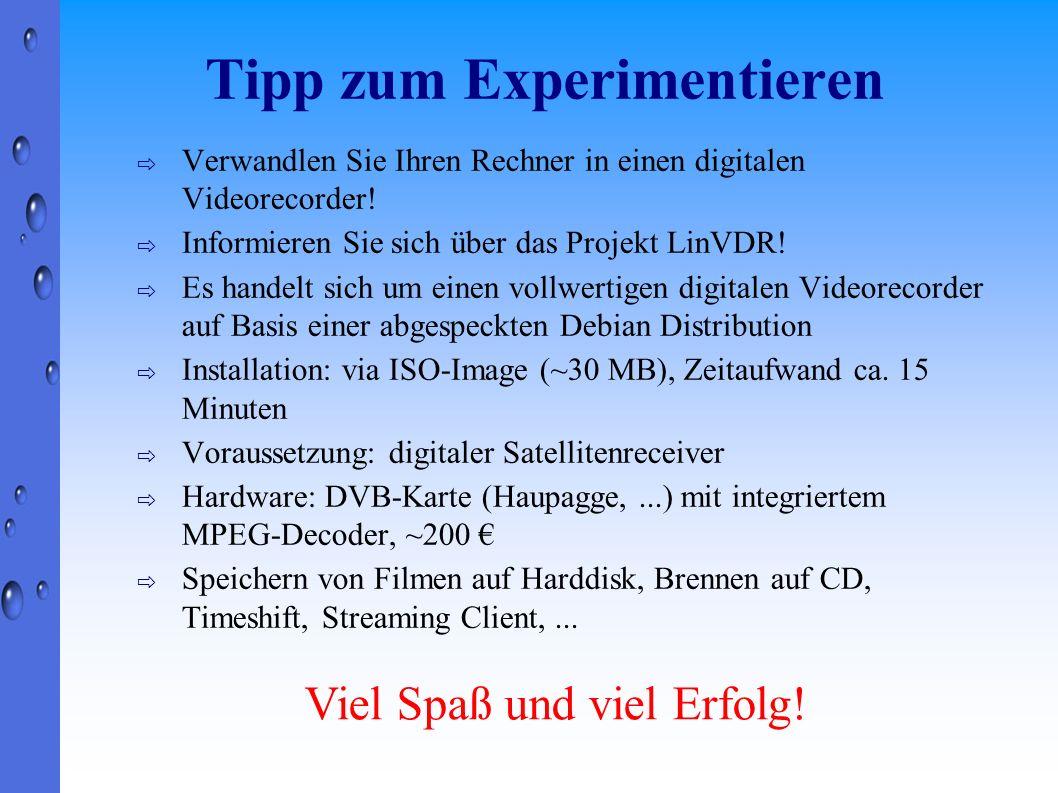 Tipp zum Experimentieren