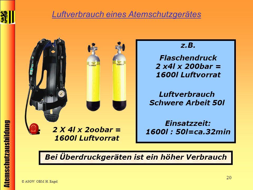 Luftverbrauch eines Atemschutzgerätes