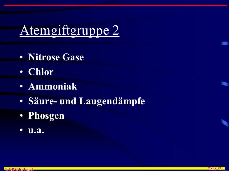 Atemgiftgruppe 2 Nitrose Gase Chlor Ammoniak Säure- und Laugendämpfe