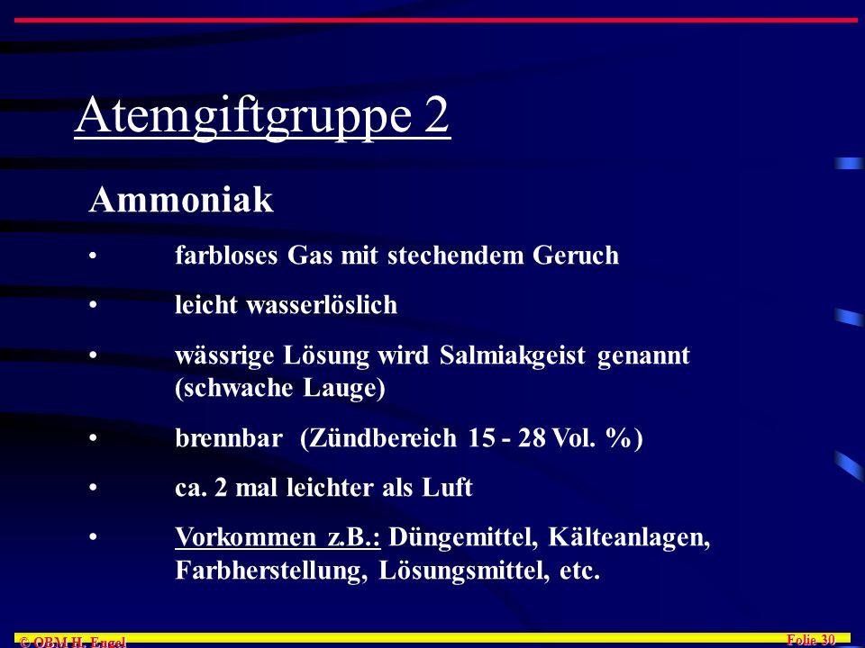 Atemgiftgruppe 2 Ammoniak leicht wasserlöslich