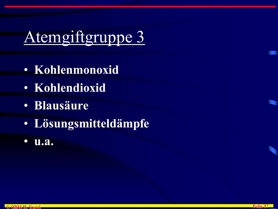 Atemgiftgruppe 3 Kohlenmonoxid Kohlendioxid Blausäure