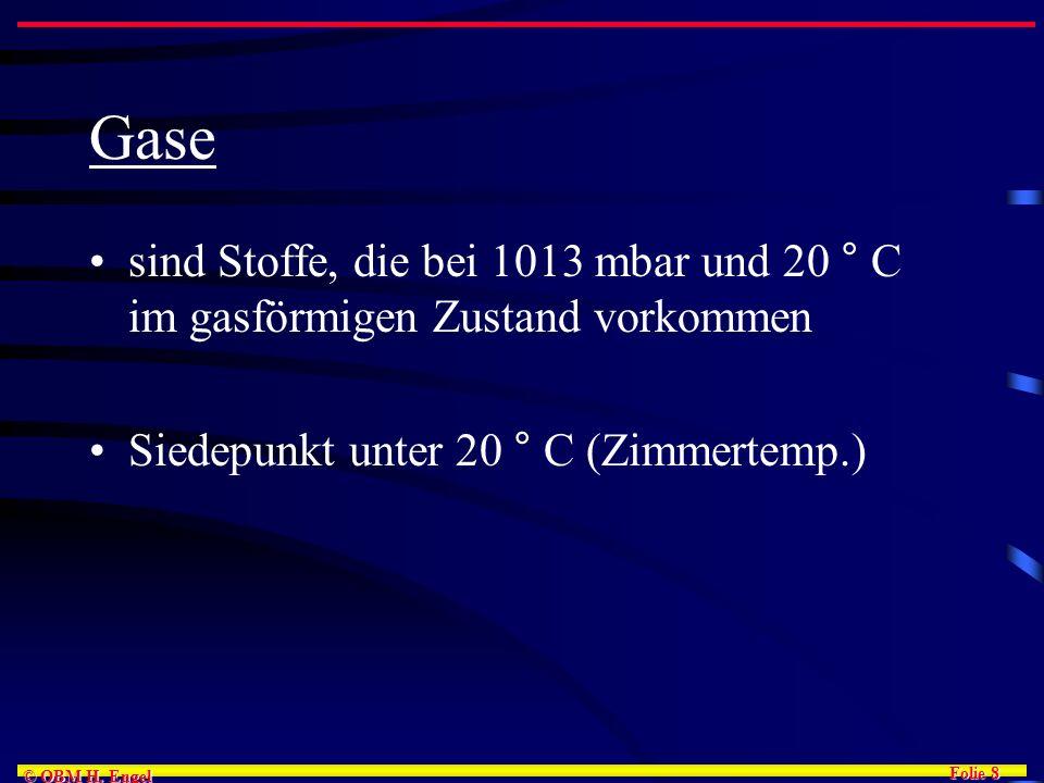 Gase sind Stoffe, die bei 1013 mbar und 20 ° C im gasförmigen Zustand vorkommen. Siedepunkt unter 20 ° C (Zimmertemp.)