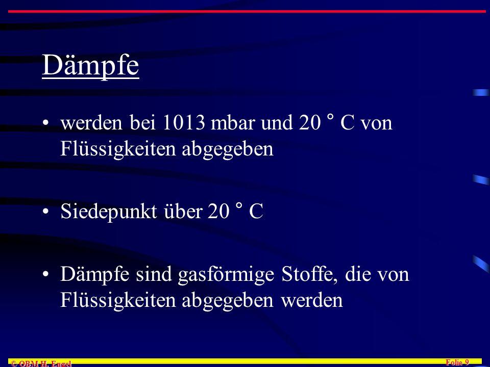 Dämpfe werden bei 1013 mbar und 20 ° C von Flüssigkeiten abgegeben