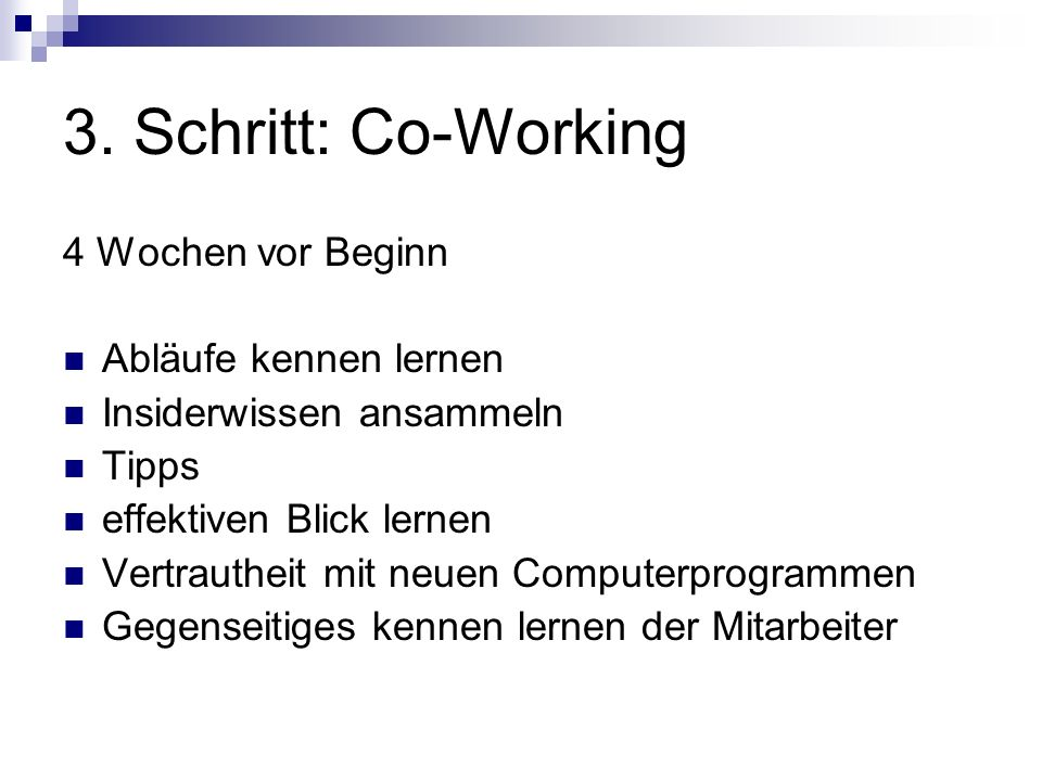 3. Schritt: Co-Working 4 Wochen vor Beginn Abläufe kennen lernen