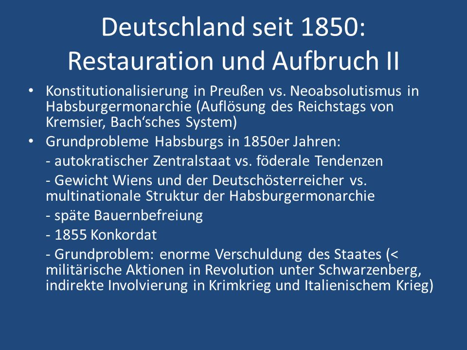 Deutschland seit 1850: Restauration und Aufbruch II