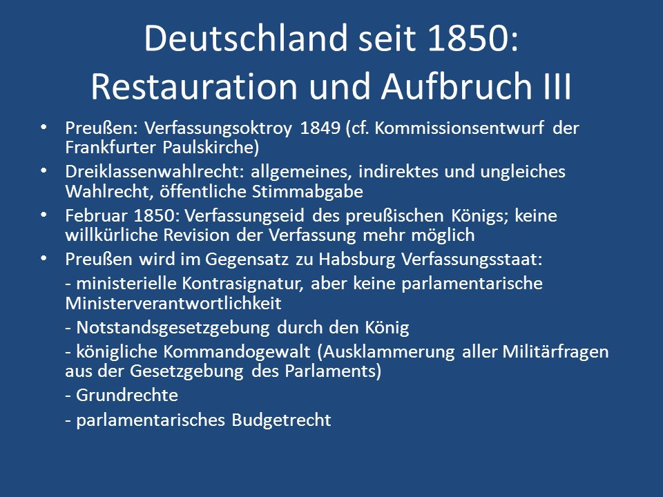 Deutschland seit 1850: Restauration und Aufbruch III