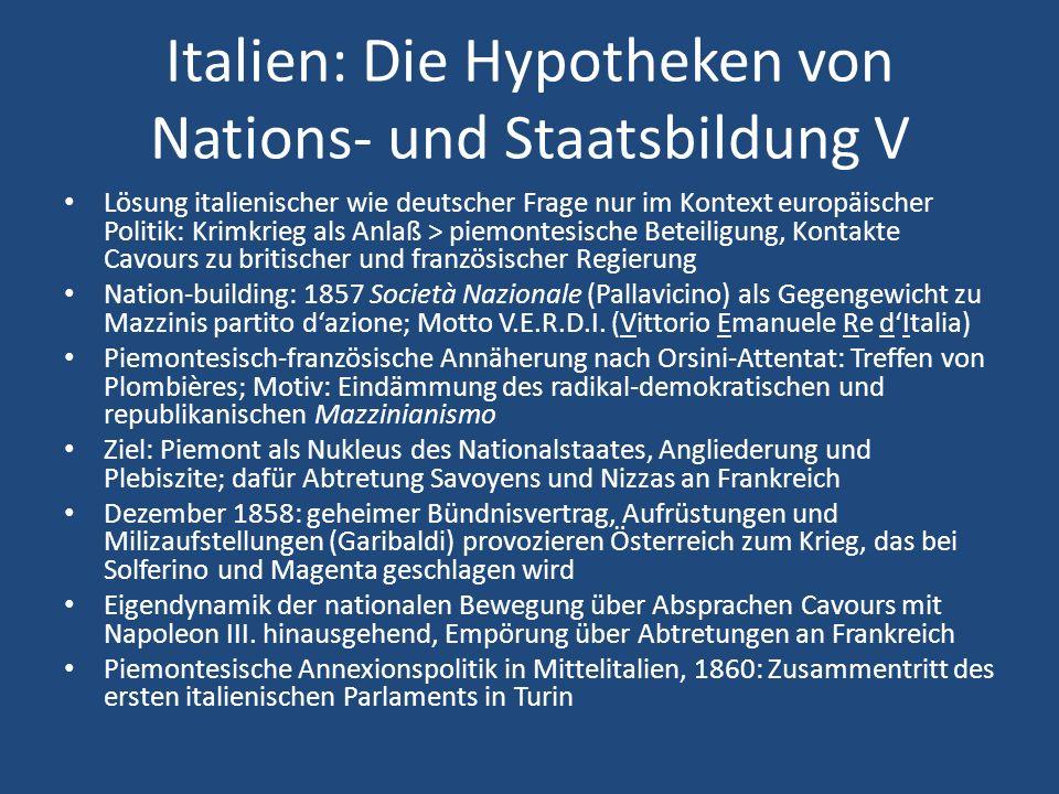 Italien: Die Hypotheken von Nations- und Staatsbildung V