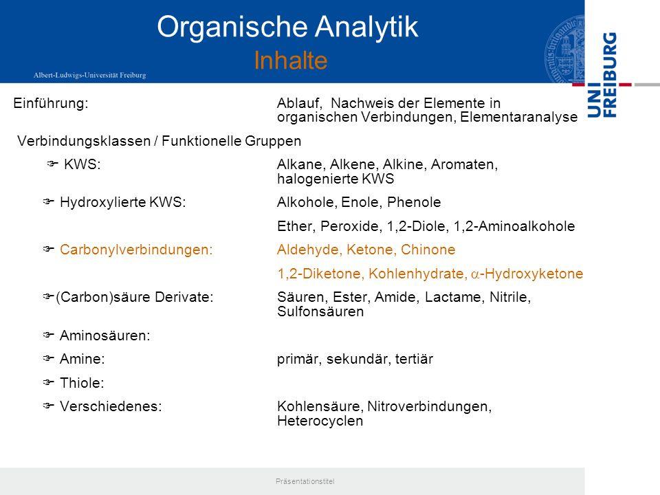 Organische Analytik Inhalte