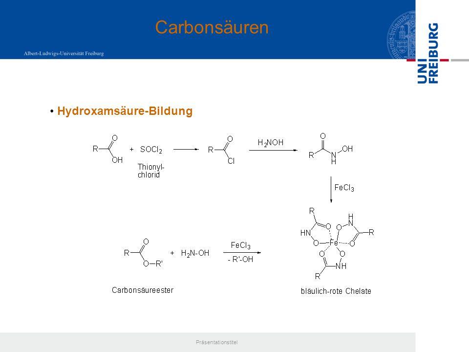 Carbonsäuren Hydroxamsäure-Bildung Präsentationstitel