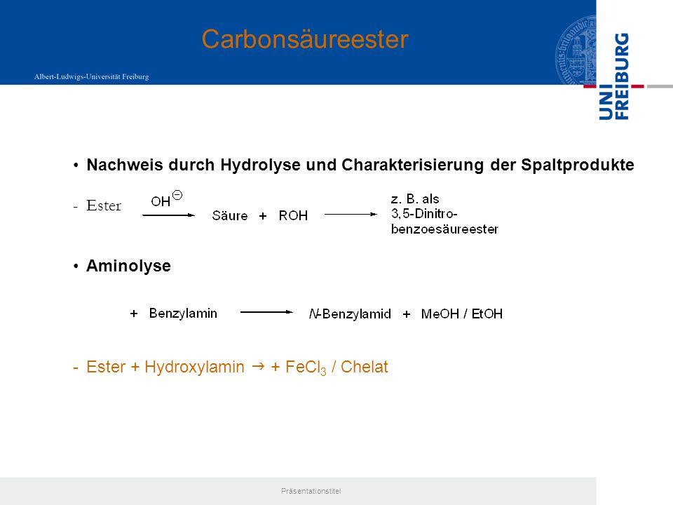 Carbonsäureester Nachweis durch Hydrolyse und Charakterisierung der Spaltprodukte. Ester. Aminolyse.