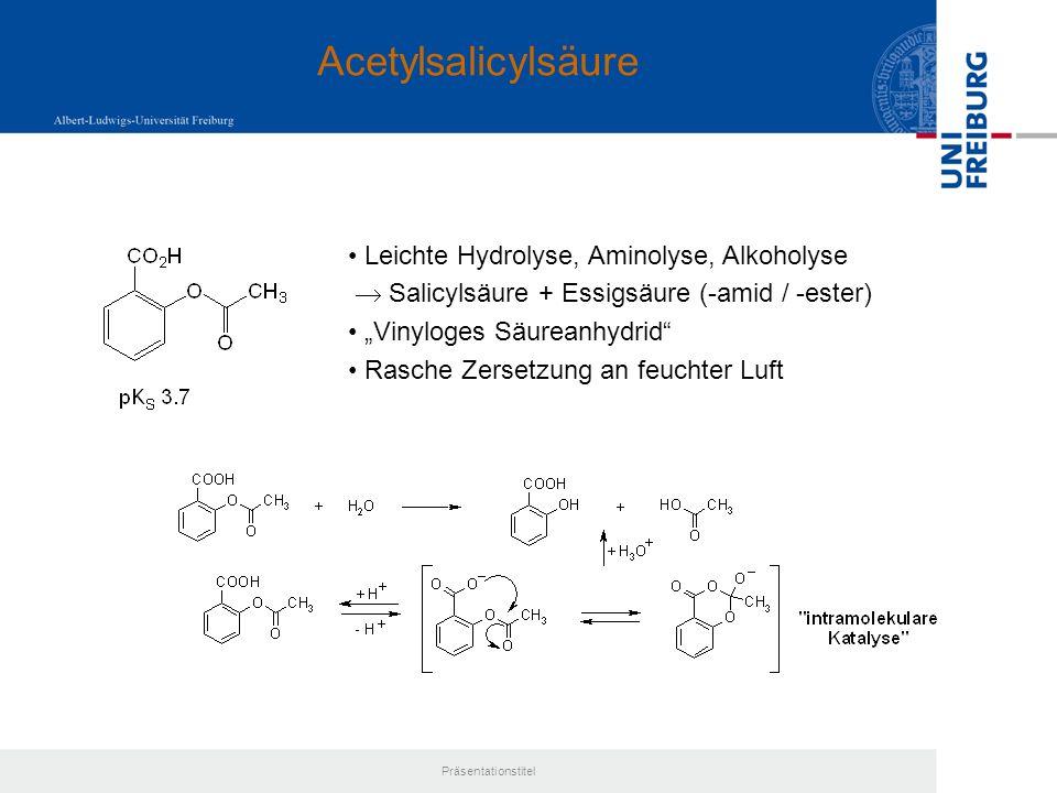 Acetylsalicylsäure Leichte Hydrolyse, Aminolyse, Alkoholyse