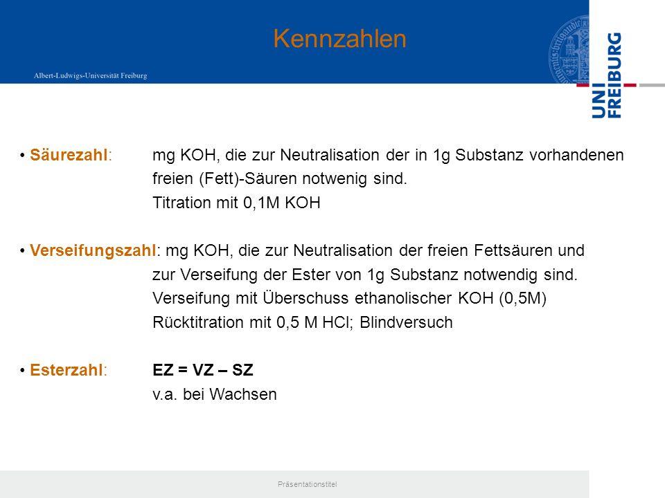 Kennzahlen Säurezahl: mg KOH, die zur Neutralisation der in 1g Substanz vorhandenen. freien (Fett)-Säuren notwenig sind.