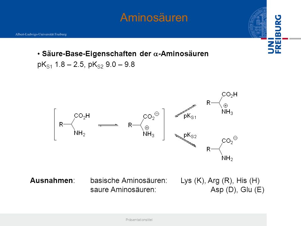 Aminosäuren Säure-Base-Eigenschaften der a-Aminosäuren