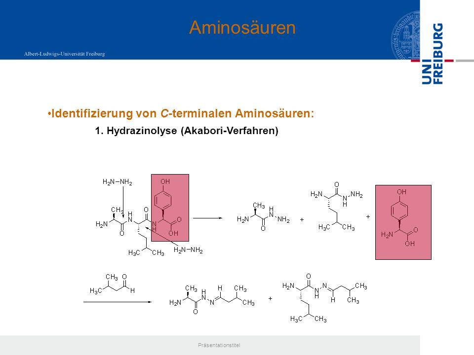 Aminosäuren Identifizierung von C-terminalen Aminosäuren: