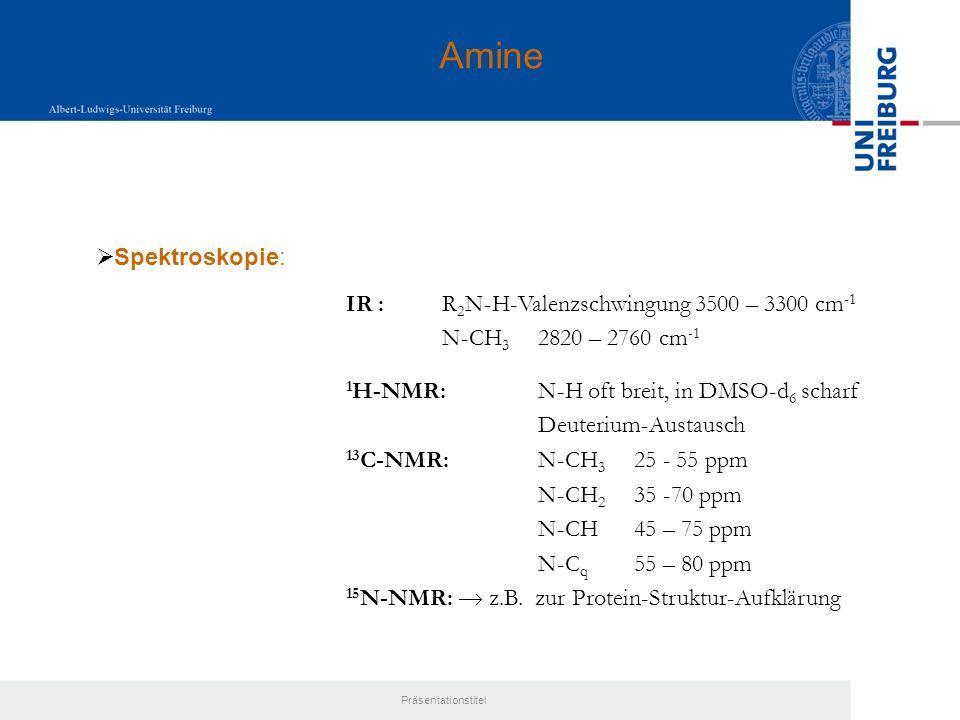 Amine Spektroskopie: IR : R2N-H-Valenzschwingung 3500 – 3300 cm-1