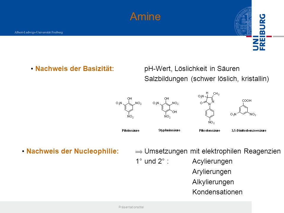 Amine Nachweis der Basizität: pH-Wert, Löslichkeit in Säuren
