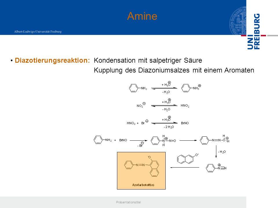 Amine Diazotierungsreaktion: Kondensation mit salpetriger Säure