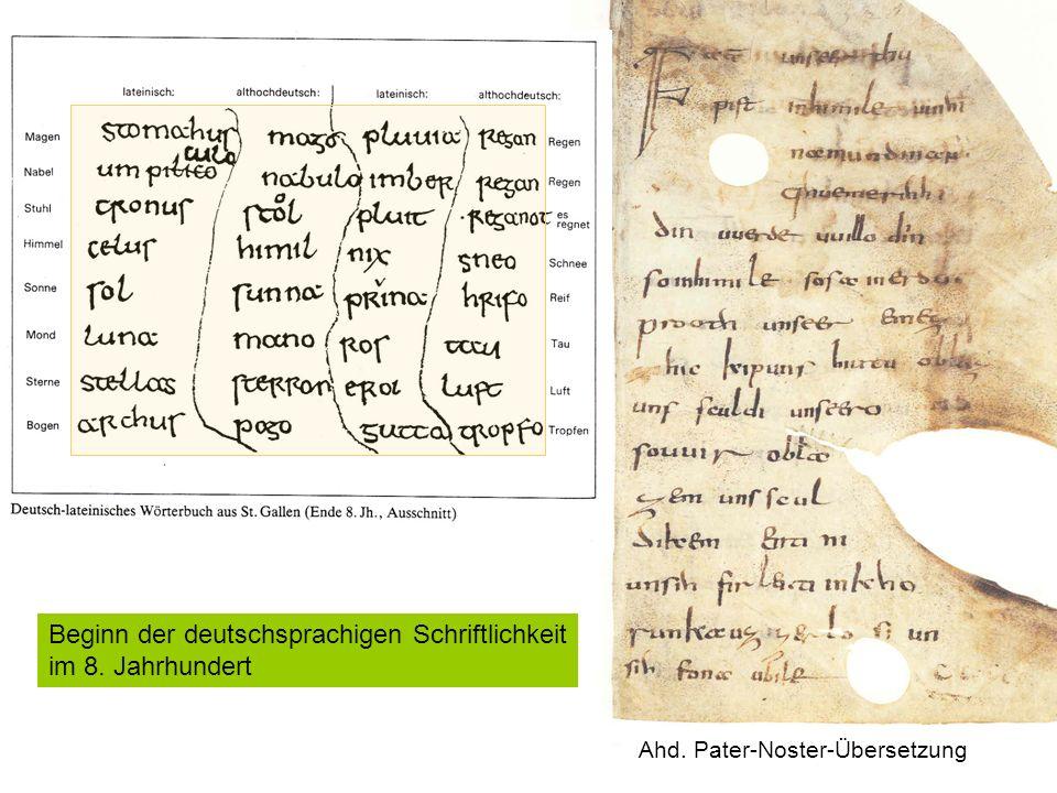Beginn der deutschsprachigen Schriftlichkeit im 8. Jahrhundert