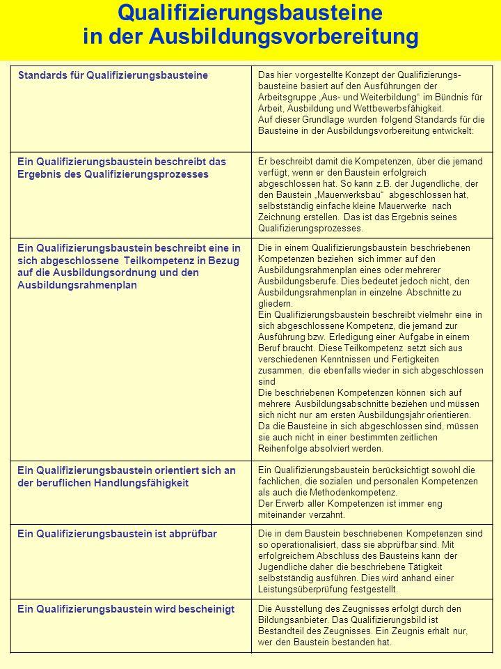 Qualifizierungsbausteine in der Ausbildungsvorbereitung