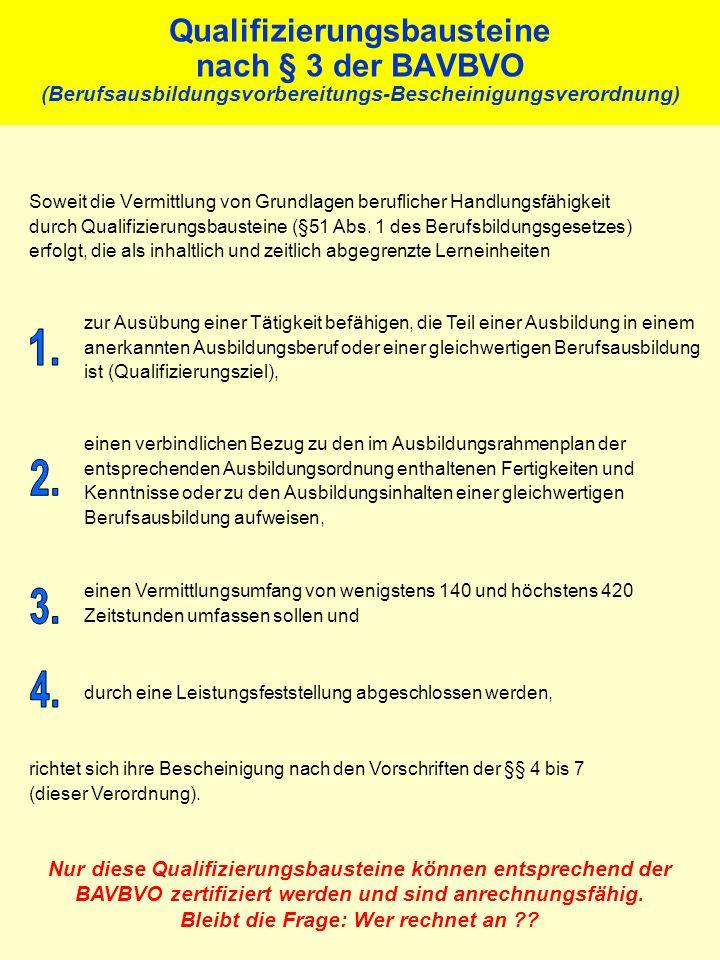 Qualifizierungsbausteine nach § 3 der BAVBVO (Berufsausbildungsvorbereitungs-Bescheinigungsverordnung)
