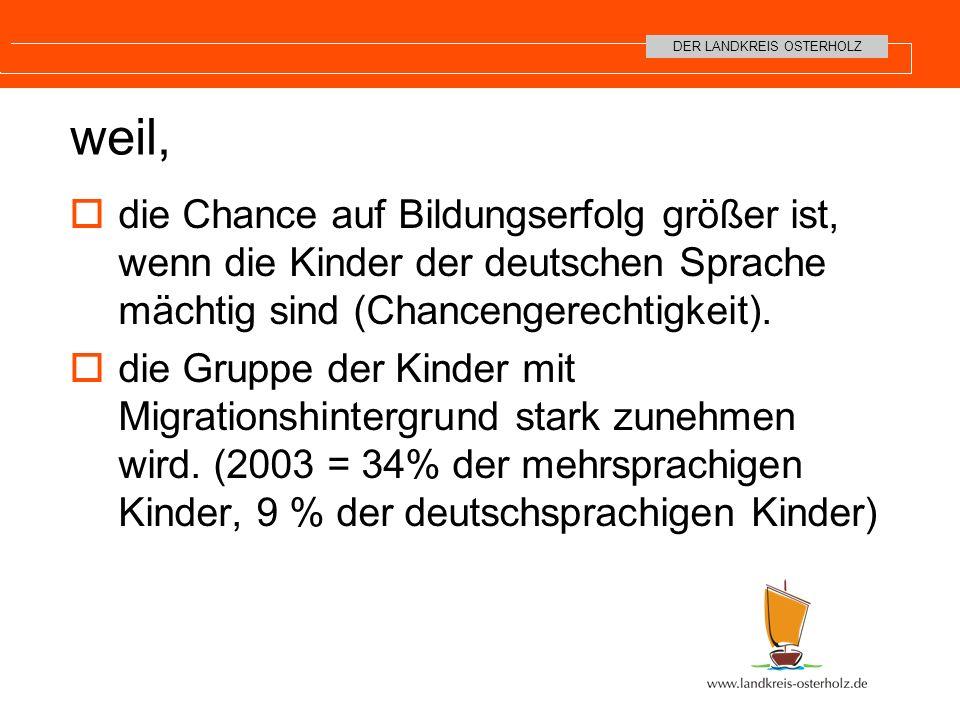 weil, die Chance auf Bildungserfolg größer ist, wenn die Kinder der deutschen Sprache mächtig sind (Chancengerechtigkeit).
