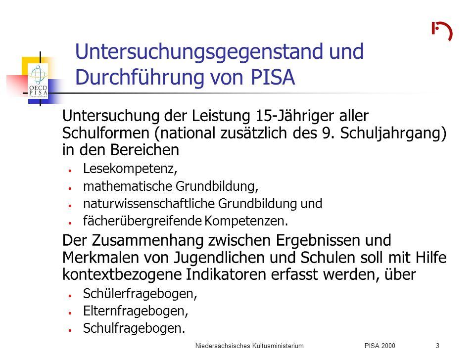 Untersuchungsgegenstand und Durchführung von PISA