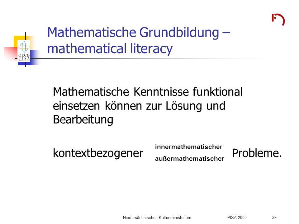 Mathematische Grundbildung – mathematical literacy