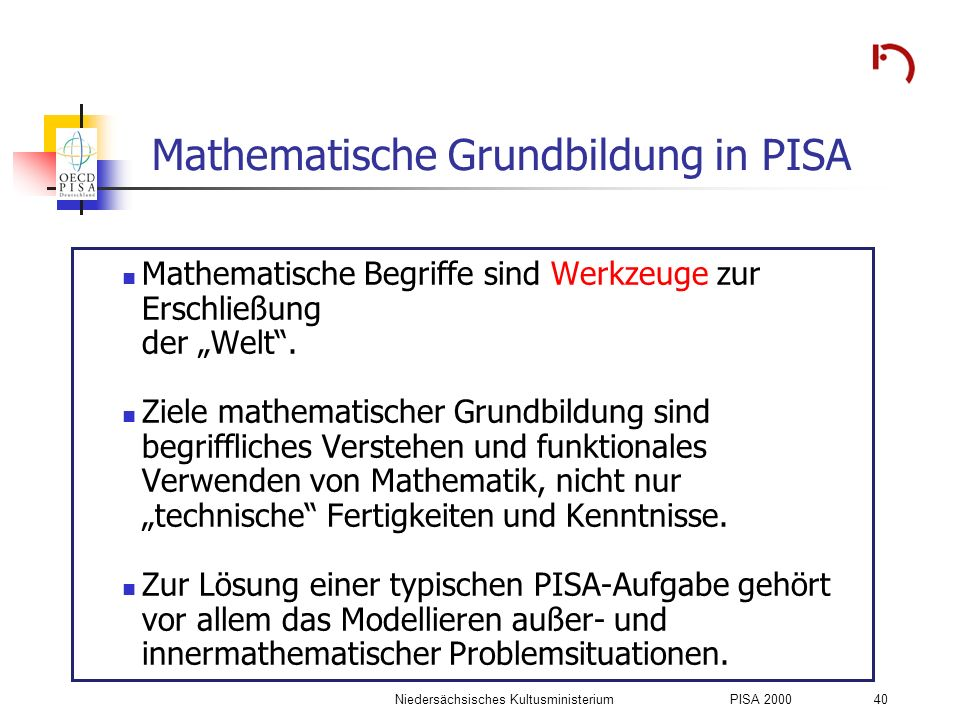 Mathematische Grundbildung in PISA