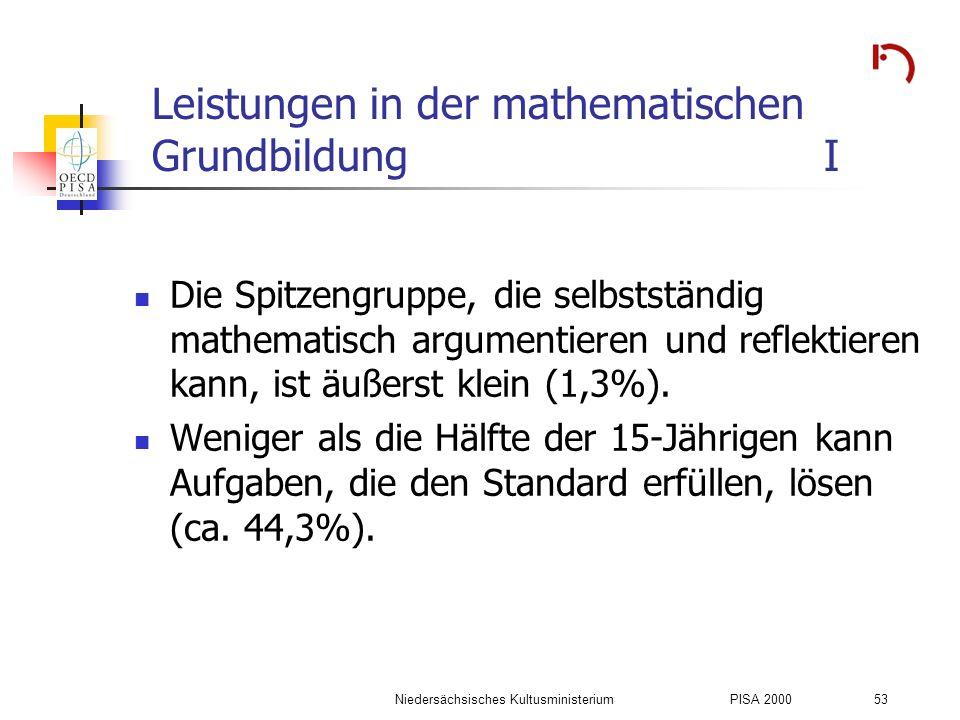 Leistungen in der mathematischen Grundbildung I