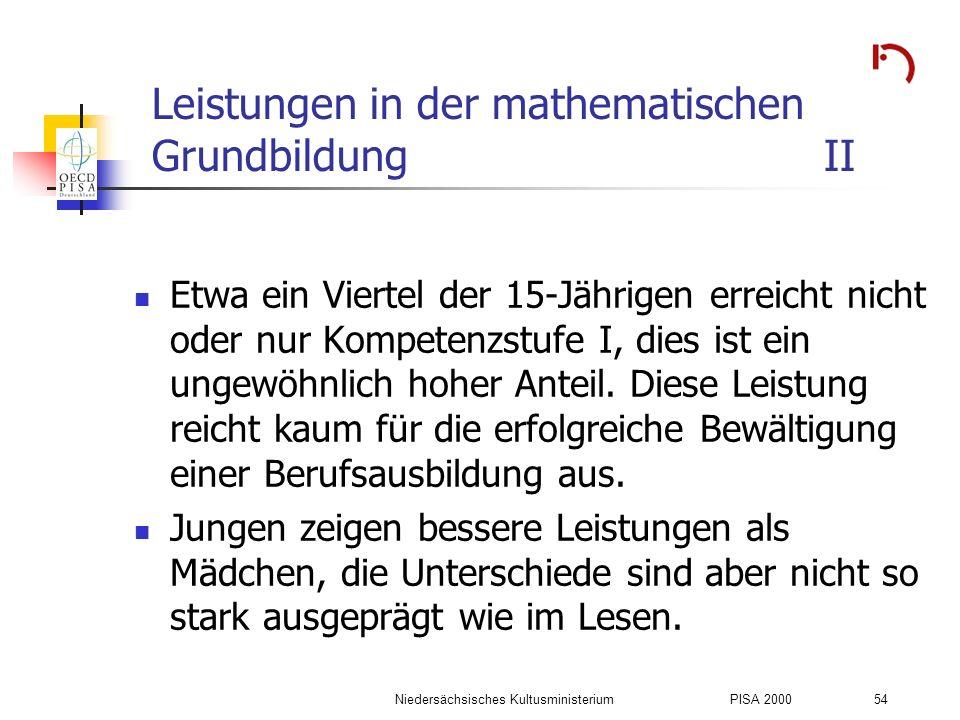 Leistungen in der mathematischen Grundbildung II