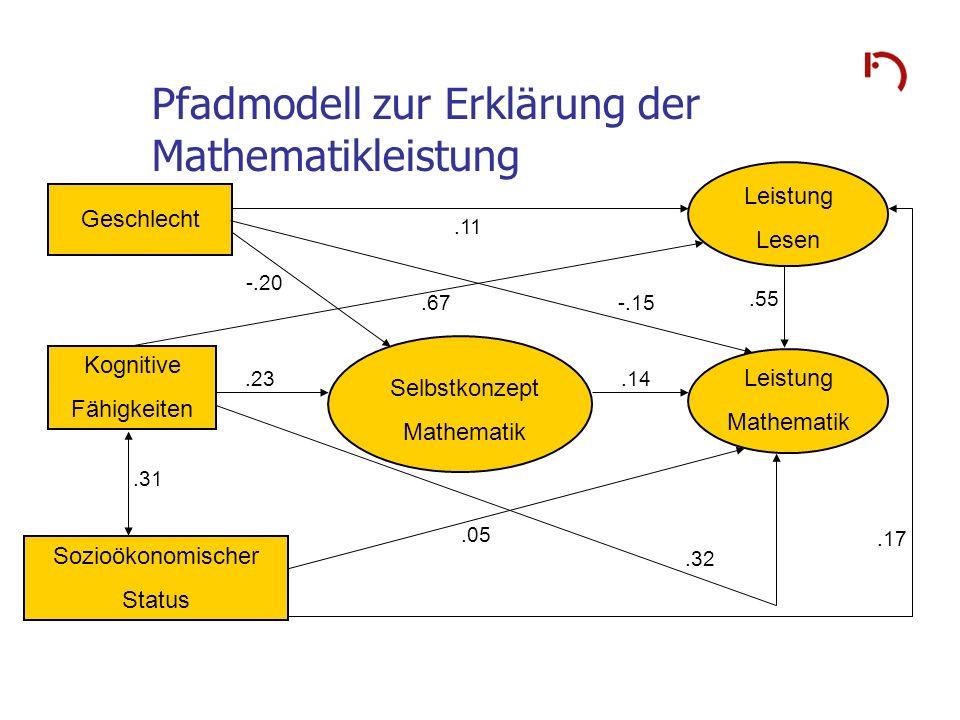 Pfadmodell zur Erklärung der Mathematikleistung